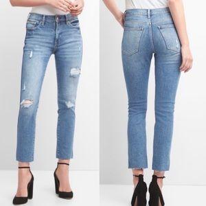 Gap slim high rise destroyed raw hem blue jeans